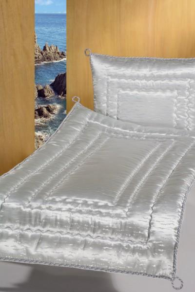 Deckengarnitur 01230 Damast grau gestrichelt, Kordel