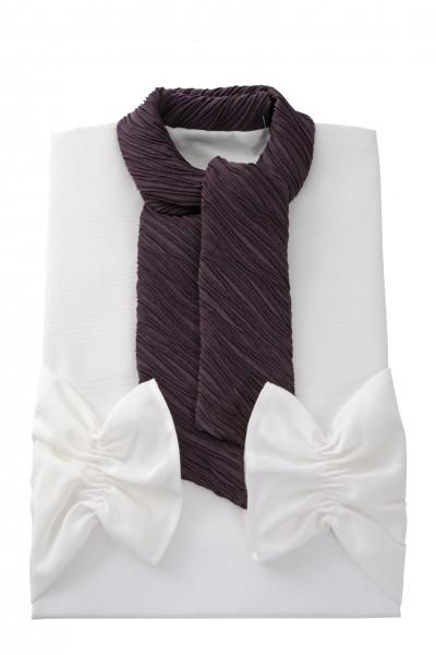 Damenkleid Nr. 411570 Roma weiss, Schalkragen aus Crash lila