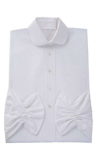 Damenkleid Nr. 409 Baumwolle, weiß, zeitgemäßer Rundkragen