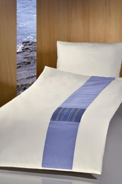 Deckengarnitur 011384 tv Jupiter elfenbein, blauer Baumwollstreifen und Handwebstoff himmelblau