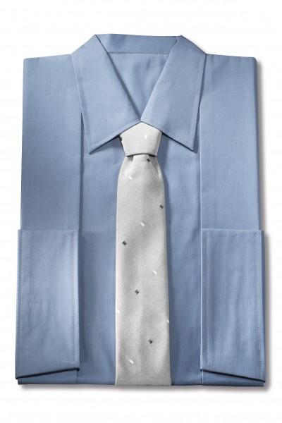Herrenkleid Nr. 271 Baumwolle taubenblau, Krawatte Karo grau