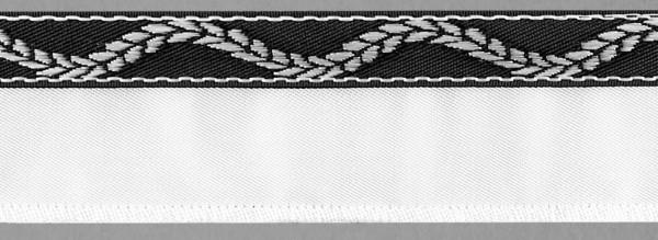 Meter Steg, Serge weiß, beids.abgekett., Vlies hinterl.+angenähtem Lotband Ranke schwarz/weiß ( á 10