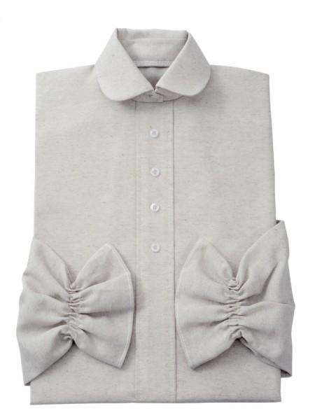 Damenkleid Nr. 409 Baumwolle natur, zeitgemäßer Rundkragen