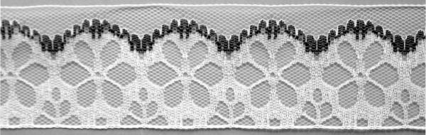 Meter Raschelspitze 5 cm breit, schwarz-weiß