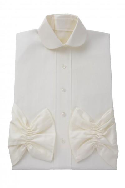 Damenkleid Nr. 409 Baumwolle elfenbein, zeitgemäßer Rundkragen