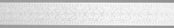 Meter Lotband, weiß, griech. Friesmotiv, (Rolle à 100 m)