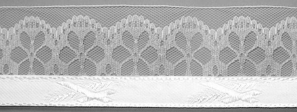 Meter Lotband K/P weiß mit 5 cm breiter Spitze (100 m/Rolle)