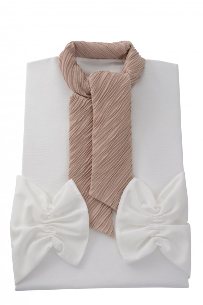Damenkleid Nr. 411580 Ravenna, Schalkragen aus Crash beige
